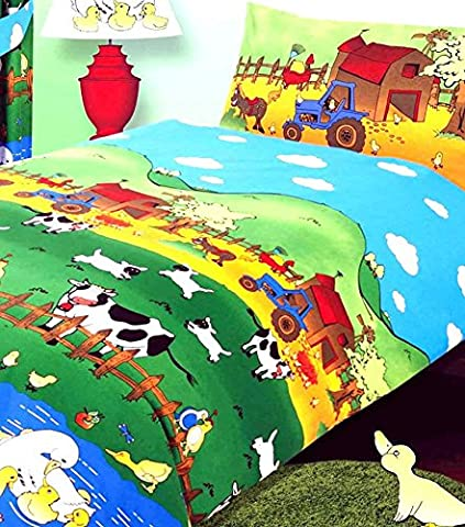 Single Bed Size Farmyard Friends Duvet Cover Set, Farm Animals Cows Sheep Duck Ducklings Swan Chicks Chickens Tractor Love Birds, Green Blue Yellow Orange Red