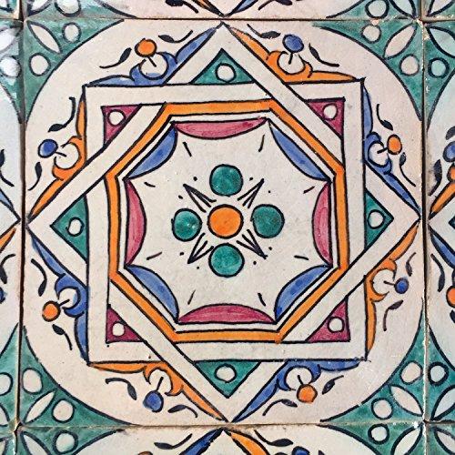 Orientalische Keramik Fliesen handbemalte marokkanische Motiv Fliese Samia 15 x 15 cm