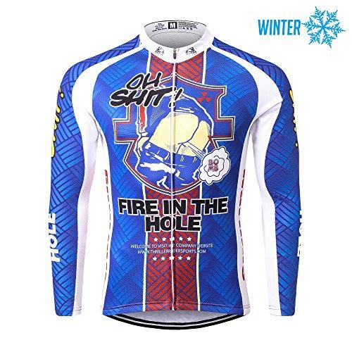 Thriller Rider Sports® Herren Fire in the Hole Sport & Freizeit MTB Fahrradbekleidung Radtrikot Langarm Thermisch Warm Jacke Large (Herren Hose Rider Sport)