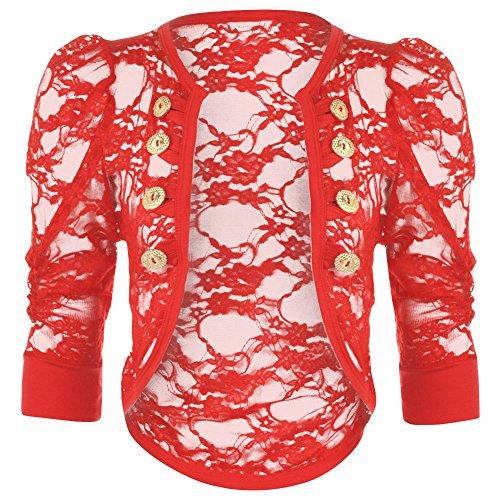 Janisramone bolero coprispalle da donna in pizzo increspato, con motivo floreale, sexy, con bottoni militari e maniche Red