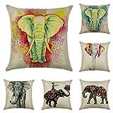 JOTOM Baumwolle Leinen Kissenbezüge Dekokissen Fall Kissenhülle Sofa Auto Kissenbezug Home Bed Decor 45 x 45 cm, 6er Set (Elefanten)