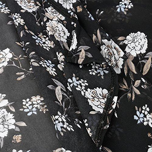 Walant Damen Kleidung Chiffon Sommer Blumen Cover Up Strandkleider Schwarz-1