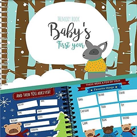 Erinnerungsbuch + Aufkleber - Tagebuch über das erste Jahr eines Jungen / männlichen Baby