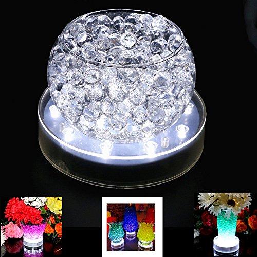 Aufladbare LED-Vase aus Acryl, 15,2 cm, rund, weißes Licht mit 25 superhellen LEDs für Hochzeiten, Partys und Vasen, Tischdekoration (weiß, 1 Stück)