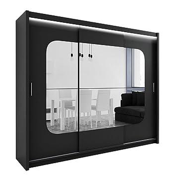 Kleiderschrank schiebetüren schwarz  Kleiderschrank mit Spiegel und LED-Beleuchtung Barcelona, Modernes ...