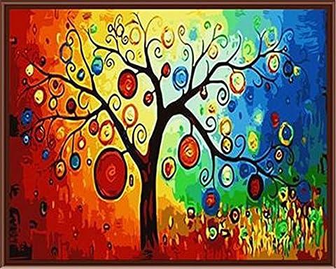 YEESAM ART Neuerscheinungen Malen nach Zahlen für Erwachsene Kinder - Pachira Baum 16 * 20 Zoll Leinen Segeltuch - DIY ölgemälde ölfarben Weihnachten