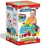 Unbekannt Werkbank und Werkzeugkiste mit 9 Teilen, Motorikspiel ab 10 Monaten • Baby Werkzeugbank Motorik Spielzeug Kiste Kinder Werkzeug Werkstatt Werkzeugbox
