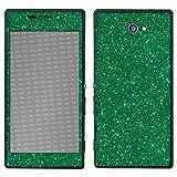 atFolix Sony Xperia M2 Skin FX-Glitter-Green-Mile Designfolie Sticker - Reflektierende Glitzerfolie