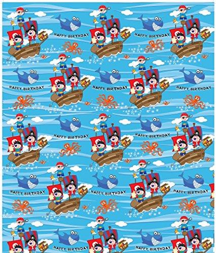 Der blaue Piratengeburtstags-Geschenkpapier der Kinder - 1 Blatt u. Zusammenpassender ()