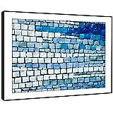 BFAB1483D gerahmtes Bild Druck Wandkunst - Blau Ziegel Fliese Mosaik Modernes Abstrakte Landschaft Wohnzimmer Schlafzimmer Stück Wohnkultur Leicht Hang Guide (51x72cm)