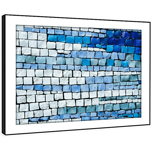 BFAB1483D gerahmtes Bild Druck Wandkunst - Blau Ziegel Fliese Mosaik Modernes Abstrakte Landschaft Wohnzimmer Schlafzimmer Stück Wohnkultur Leicht Hang Guide (51x72cm) (Malerei Ziegel)