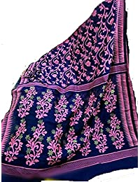 Handloom Bengal Jamdani Design Saree - Ink Blue With Powder Pink Florals
