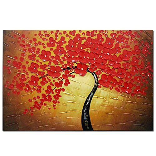 Wieco Art - Red Flowers Modern Floral 100% Hand Painted Oil Paintings Artwork on Stretched and...