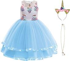 URAQT Robe Licorne Enfant de Princesse, Robe Licorne Fille