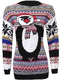 Femmes Noël 2Rennes en gewirken manches longues pour Noël Jumper Pull 36–42UE (UE 36–38(UK 8/10), Penguin Aztec Blue)