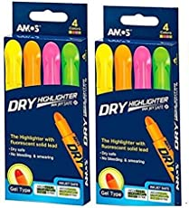 Amos Set Of 4 Dry Highlighter Pens (Set of 2, Yellow, Orange, Pink, Green)