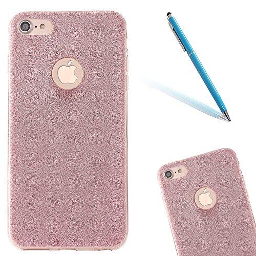Clear Crystal Rubber Protettivo Case Skin per Apple iPhone 7 4.7, CLTPY Moda Brillantini Glitter Sparkle Lustro Progettare Protezione Ultra Sottile Leggero Cover per iPhone 7 + 1x Stilo - Silver Rose Gold