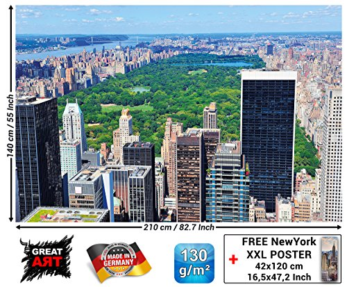 GREAT ART Fototapete - New York Skyline Central Park - Wandbild Dekoration Amerika Manhattan Panorama Landschaft USA Großstadt Bild Wallpaper Foto-Tapete Wandtapete Poster Wanddeko (210 x 140 cm)