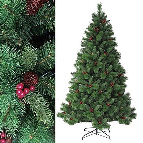 150 cm env. 650 aiguilles arbre de Noël artificiel, décoratif et EXCLUSIF, haute qualité avec baies rouges et pommes de pin (difficilement inflammable), HXT 1302