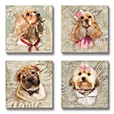 WESIATOR  Lovely Small Pets Puppy Dogs Picture Wall Art Funny Cute Animal Paintings Print on Canvas for Bathroom Nursery Room Kids Boys Girls Bedroom Decoration, Ready to Hang (30x30cm x4pcs)