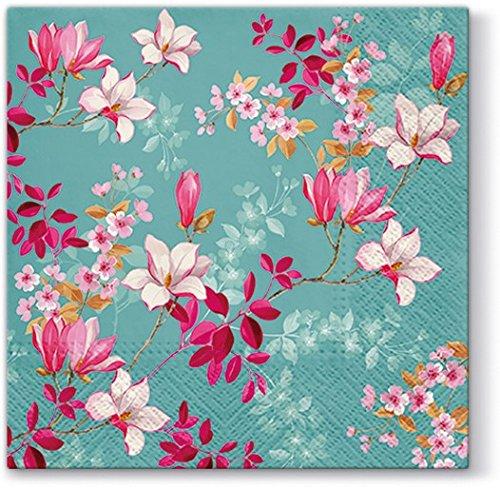 20 Servietten Magnolien auf blau / Blumen / Frühling / Ostern 33x33cm -