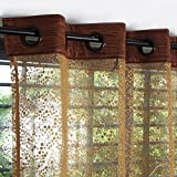 #9: Story@Home Fancy Sparkling Beautiful Door Window Sheer Strip Premium Set of 2 Polyester Beautiful String Beads Hanging Net Curtain - 7ft, Brown