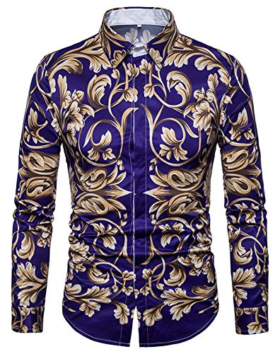 Whatlees Herren Langarm Druckmuster Hemd - Dress Shirt mit Stehkragen und Luxus Barock Stil B702-34-XL