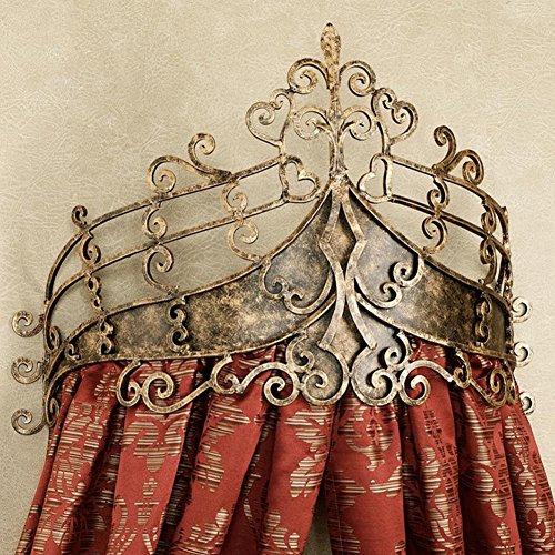 Princesa bed canopy,Europea retro red cortinas forja cabecero boda cortina marco mosquitera-rojo