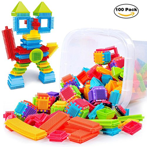 100pcs 3D Building Puzzle Games DIY Toys, Fat.chot Bristle Shape Educational Toys Building Blocks Set Construction Game Party Special Gift for Kids, Toddlers