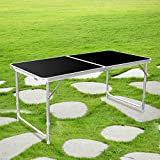 HOMFA 1.2M 4FT Garden Camping Tables Adjustable Folding Portable Tables for Party BBQ Black