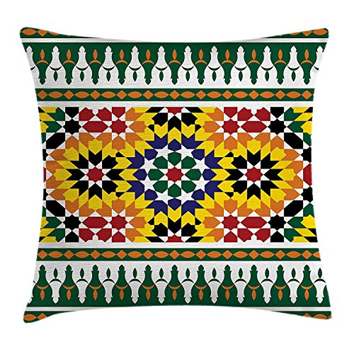 MLNHY Moroccan Throw Pillow Cushion Cover, Vibrant Old Fashion Indie African Tribal Pattern with Eastern Influences Print, Decorative Square Accent Pillow Case, 18 X 18 Inches, Green Yellow