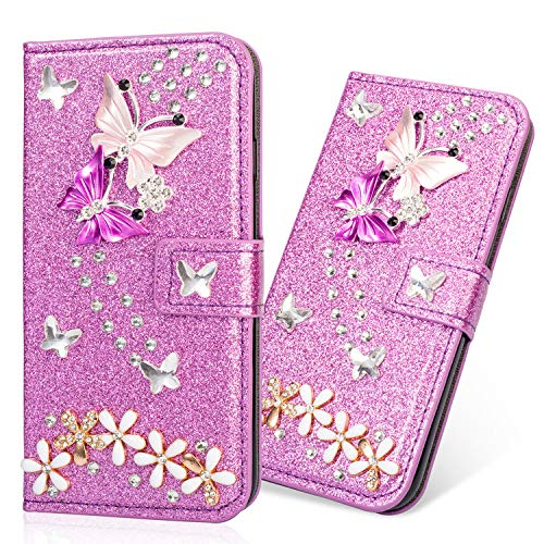 Slim 3D Butterfly Bling Glitter Glitzer Diamond Musterg Ledertasche Slim Retro Bookstyle mit Standfunktion Karteneinschub Magnetverschluss Brieftasche Flip Wallet Hülle Schutzhülle für Huawei P9 Lite