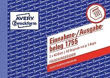 Avery 1755 A6 40pages formulaire et livre de comptabilité - Formulaires et livres de comptabilité (Blanc, Jaune, Carton, A6, 148 x 105 mm, 40 pages)