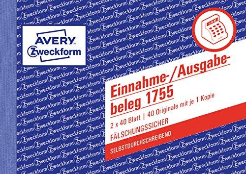 Avery Zweckform 1755 Einnahme-/Ausgabebeleg (A6 quer, selbstdurchschreibend, 2x40 Blatt) weiß/gelb ('ausgabe)