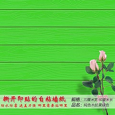 Jedfild Tapete Selbstklebende stereoskopischen 3D-kreative Wand Schlafzimmer Wand Dekoration Aufkleber PVC wasserdicht Viertel renoviert, Tapeten, Farbe Holz-grain Frucht grün 70 * 60 cm, (Punkt 100 Grain)