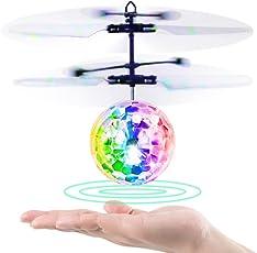 Baztoy RC Fliegender Ball Spielzeug Infrarot-Induktions-Hubschrauber, Drohne mit Bunt Leuchtendem LED-Licht und Fernbedienung für Kinder, Geschenke für Jungen und Mädchen, Indoor-und Outdoor-Spiele
