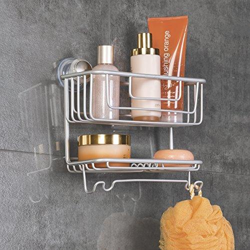 Mdesign mensola doccia con ventosa da appendere senza viti - Portasapone doccia senza forare ...