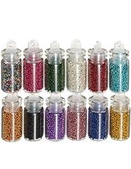 12 piezas tamaño pequeño de cuentas de Art de las botellas de recortada para pistola de clavos brillo puntas de las orejas de la decoración torno eléctrico para manicura juego de bolas de Caviar