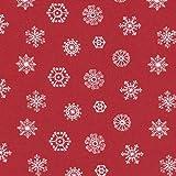 100% Baumwolle Stoff | Rot und Schneeweiß (Grundfarbe: