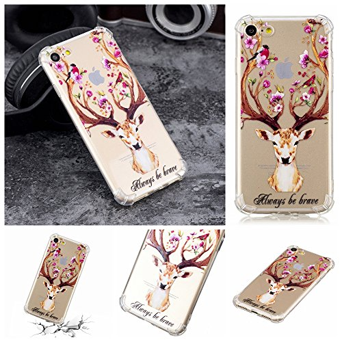 Klassikaline iPhone 7 Téléphone Coque/Étui Flexible Protection en Soft TPU Silicone Shell Etui Housse de Protection Coque Etui Silicone Transparente Case Cover pour [ iPhone 7] - Fleur de Girafe