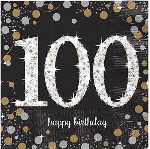 FesteFeiern zum 100 Geburtstag I 16 Teile Servietten Tischdekoration gold schwarz silber | Party Deko Set happy birthday 100 (100 Papier Servietten)