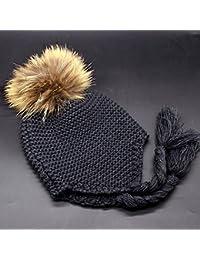 HuntGold bébé chapeau tricoté casquettes chaud hiver boules de poils bonnet d'enfant gris foncé