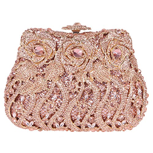 Bonjanvye Delicate Studded Rose Clutch Bag Crystal Evening Bags for Girls Silver Rose gold