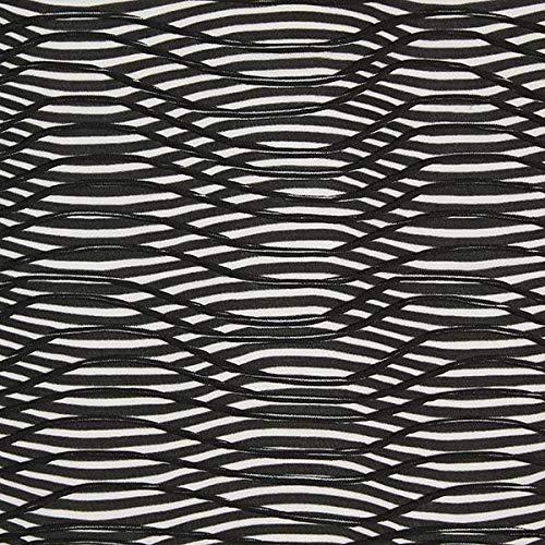 Fabulous Fabrics Jerseystoff Fanye Waves, halbtransparent schwarz/Weiss - Meterware ab 0,5m - zum Nähen von Accessoires, Blusen und Schals/Tücher
