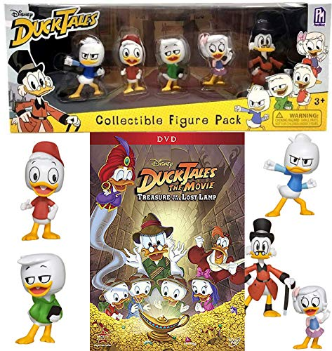 Comical cast of Ducks Disney Adventure DuckTales Lost Treasure Lamp DVD + Collectible Figure Pack pack cartoon family fun! Scrooge, Webby, Huey, Dewey, and Louie -