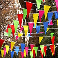 Multi Coloured Bunting Banner Triangle Flags Pennant 50M Double Sided Festival Wedding Party Garden Outdoor Decoration 25