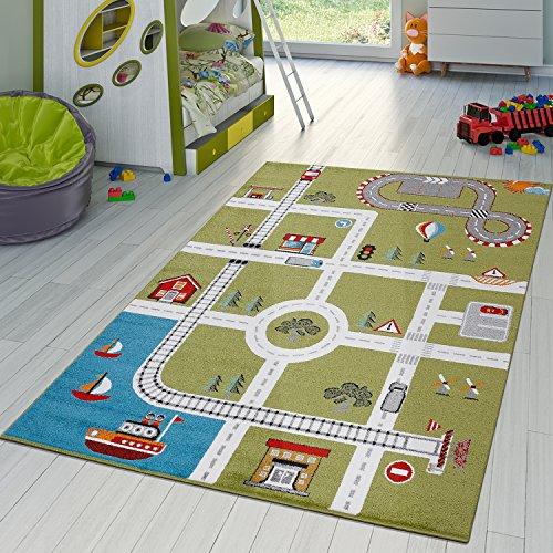 Kinderzimmer Teppich Mit Design City Hafen Stadt Straßen Spielteppich In Grün , Größe:120x170 cm