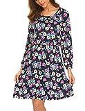 Trudge Damen Blumenmuster Druckkleid Langarmkleid Viskosekleid Blusenkleid Freizeitkleid Boho Kleid, Marine-Weiß, EU 38(Herstellergröße: M)