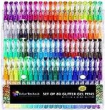 Color Technik, set di 80penne gel glitterate con colori accesi e fluorescenti, colori assortiti senza doppioni, ottima idea regalo