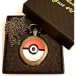 Pokemon Logo Quartz Pocket Watch Necklace - Antique Bronze Effect - GIFT BOXED WITH FREE SPARE BATTERY